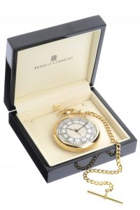 House of Commons dial gold-plated pocket watch in its bespoke presentation box