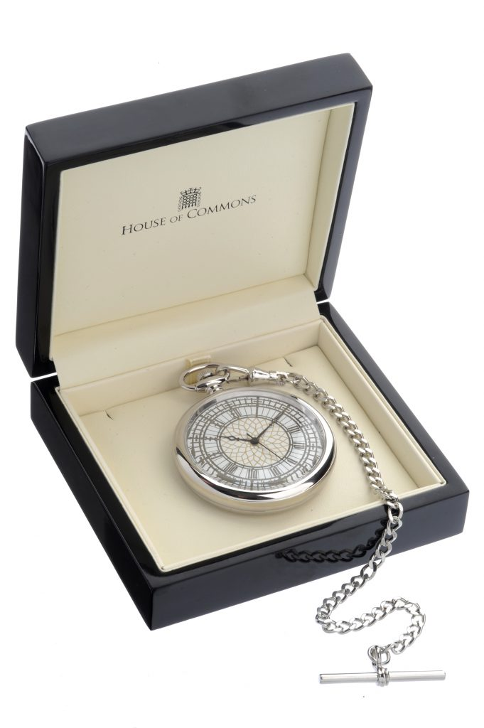 House of Commons dial chrome-plated pocket watch, presented in its bespoke gift box