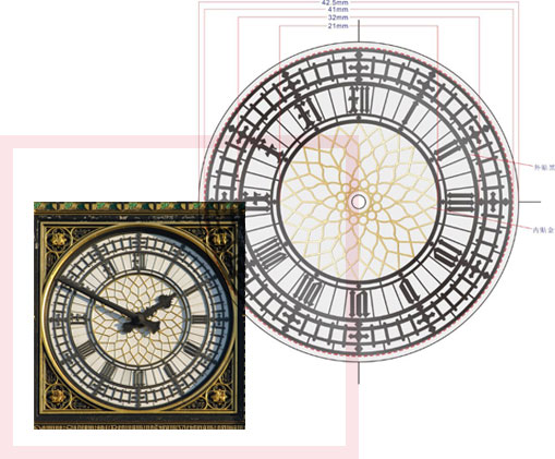 A line drawing of a clock dial with a smaller  colour photograph of the same dial inserted to the left.