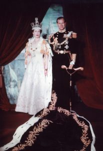 Queen Elizabeth II wearing the magnificent crown for her coronation portrait, accompanied by the Duke of Edinburgh, 1953.