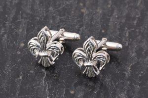 Sterling silver fleur de lis cufflinks