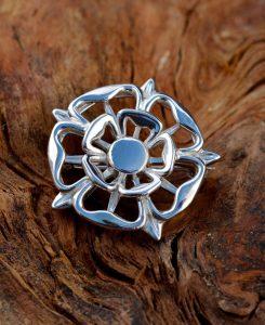 Silver Tudor Rose Broach