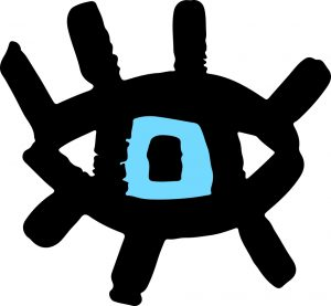 The logo for Emma Griffin Photography, a large open blue eye, with long black eyelashes.