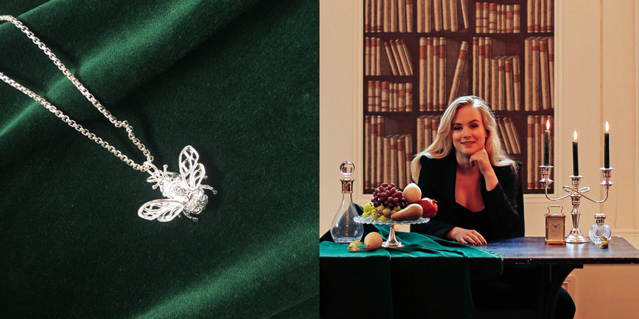 Mallards' photo shoot at the Carbis Bay hotel: a silver bee charm, and a model behind a table