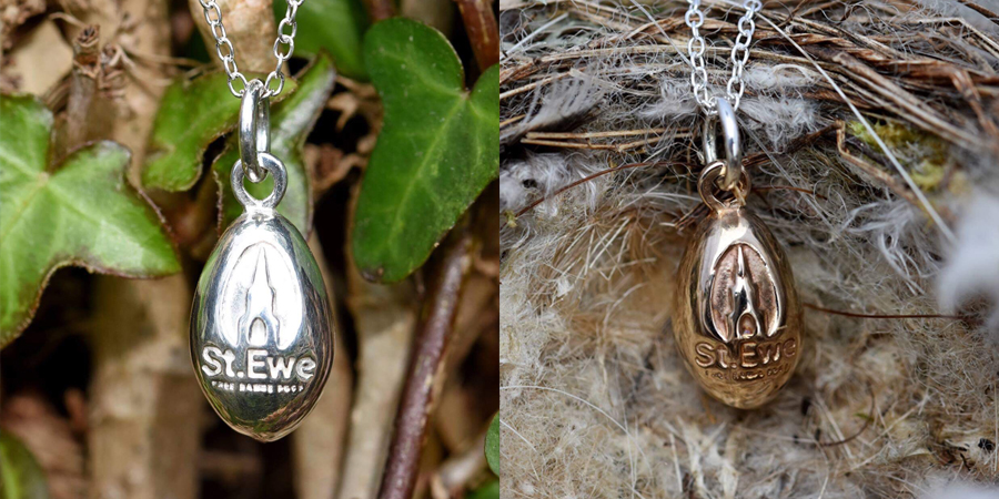 Silver and bronze egg pendants for St Ewe Free Range Eggs